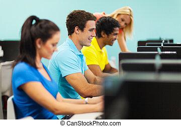 生徒, コンピュータ, グループ, 実験室