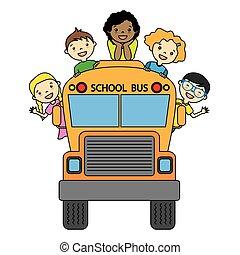 生徒, バス, 学校