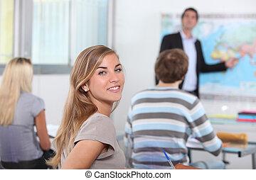生徒, 中に, 教室