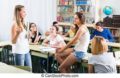 生徒, 会話, 中に, ∥, 教室