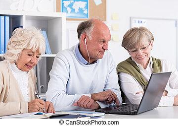 生徒, 使うこと, シニア, コンピュータ