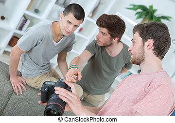 生徒, 写真撮影, グループ, 若い