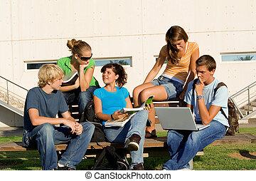 生徒, 勉強しなさい, 屋外, グループ