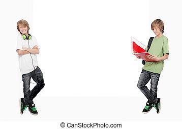 生徒, 勉強, 1(人・つ), twin, 音楽が聞く