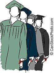 生徒, 卒業する, イラスト