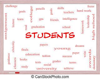 生徒, 単語, 雲, 概念, 上に, a, whiteboard