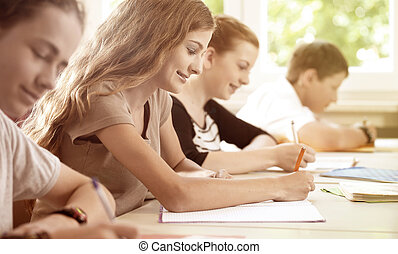生徒, 執筆, a, テスト, 中に, 学校の クラス