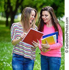 生徒, 夏, 公園, 幸せ