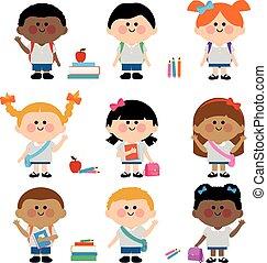 生徒, 多様, グループ, 子供