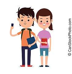 生徒, 学校, デザイン, 恋人, 背中