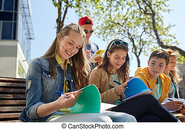 生徒, 庭, 学校, ノート, グループ