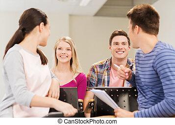 生徒, 微笑, ノート, グループ