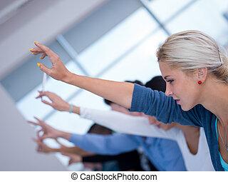 生徒, 手, グループ, の上, 昇給
