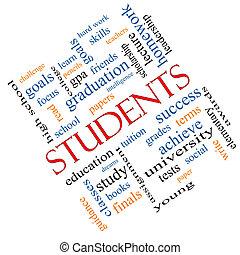 生徒, 斜め, 概念, 単語, 雲