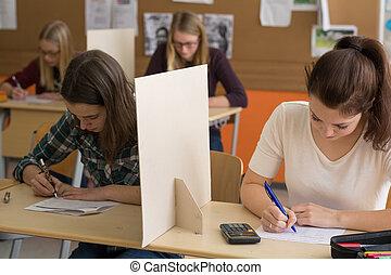生徒, 書きなさい, クラスで, a, テスト