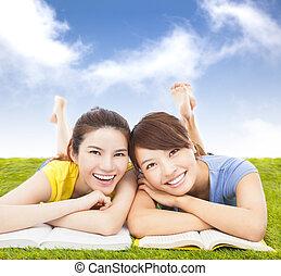 生徒, 本, かなり, 牧草地, あること, 幸せ