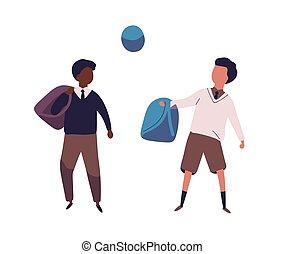 生徒, 現代, ユニフォーム, style., 服を着せられる, football., スポーツ, ball., 平ら, 同級生, イラスト, ける, 対, kids., 生徒, 学校, 有色人種, 男の子, ∥あるいは∥, ベクトル, 活動, schoolfellows, 遊び