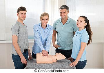 生徒, 練習する,  cardiopulmonary, 蘇生