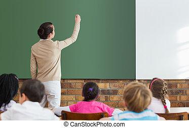 生徒, 聞くこと, へ, ∥(彼・それ)ら∥, チョークボードにおいての教師