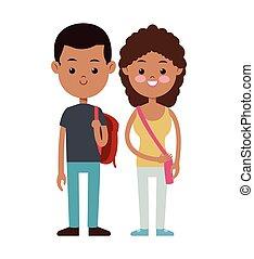 生徒, 袋, 学校の 子供, 背中