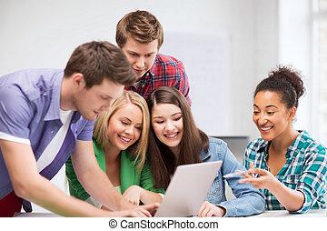 生徒, 見る, 学校, ラップトップ, インターナショナル
