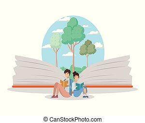 生徒, 読書, 恋人, 本