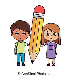 生徒, 鉛筆, わずかしか, 子供, 恋人