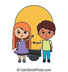 生徒, 電球, わずかしか, 子供, 恋人