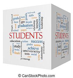 生徒, 3d, 立方体, 単語, 雲, 概念