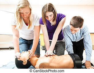 生徒, cpr, 練習する, 人命救助