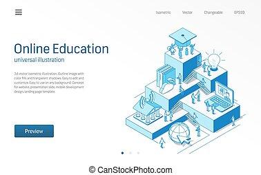 生徒, illustration., 等大, e 勉強, 図書館, ステップ, オンラインで, teamwork., デジタル, concept., 線, icon., 現代, 訓練, ベクトル, 成長, infographic, education., 大学, 勉強