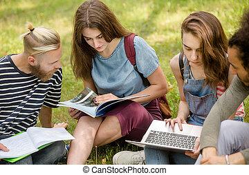生徒, studying., 草, グループ, モデル