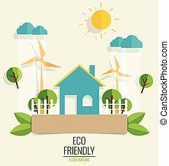 生态, 概念, 带, 绿色, 城市