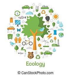 生态, 环境, 绿色, 城市, 概念, 矢量, 图标, 放置, 带, 能量, 储蓄, 技术