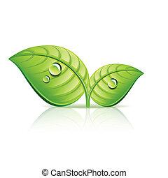 生态, 离开, 描述, 矢量, 绿色, 图标