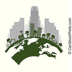 生态, 绿色, 城市, 带, 地球, 行星