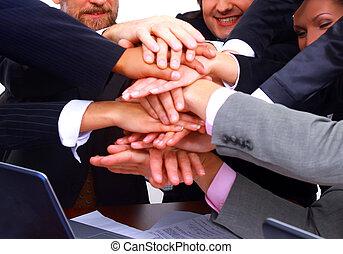 生意人的組, 做, a, 堆, ......的, 手, 在, a, 光, 以及, 現代, 辦公室環境