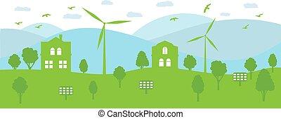 生態学的, エネルギー, conservation., ジェネレーター, panels., 環境, 風, 太陽, 町, 概念, 回復可能
