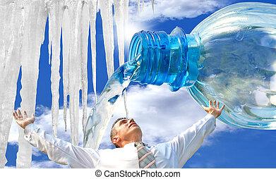 生態学的, potable, 純粋, water.