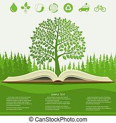 生態學, 信息, 圖像, 現代, 設計, 綠色的樹, 以及, 打開, 書