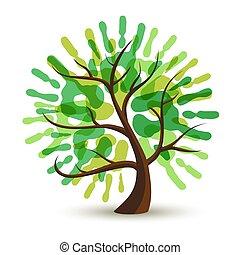 生態學, 幫助, 樹, 手, 綠色, 人類, 印刷品