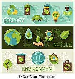 生態學, 旗幟, 由于, 環境, icons.