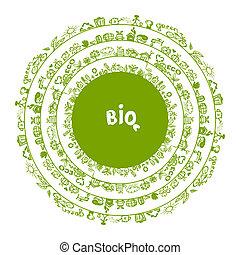 生態學, 概念, 框架, 設計, 綠色, 環繞, 你