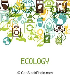 生態學, 背景, 由于, 環境, icons.