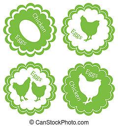 生態學, 郵票, 蛋, 標簽, 農場, 矢量, 綠色的背景, 小雞