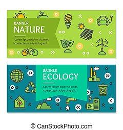 生態學, 飛行物, 旗幟, 海報, 卡片, set., 矢量