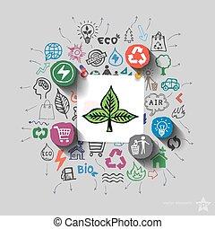 生態學, emblem., 環境, 拼貼藝術, 由于, 圖象, 背景