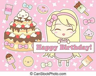 生日快樂, 卡片, 在, kawaii, 風格