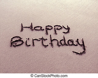 生日快樂, 寫, 在, 沙子