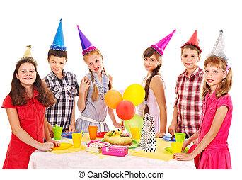 生日聚會, 組, ......的, 孩子, 由于, cake.